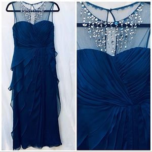 Dresses & Skirts - Navy Blue Tiered Gown with Beaded Mesh Neckline